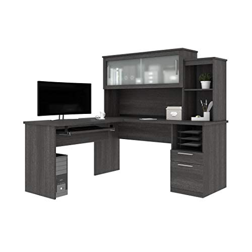 Bestar, Dayton Collection, Executive Office L-Shaped Desk with Pedestal and Hutch