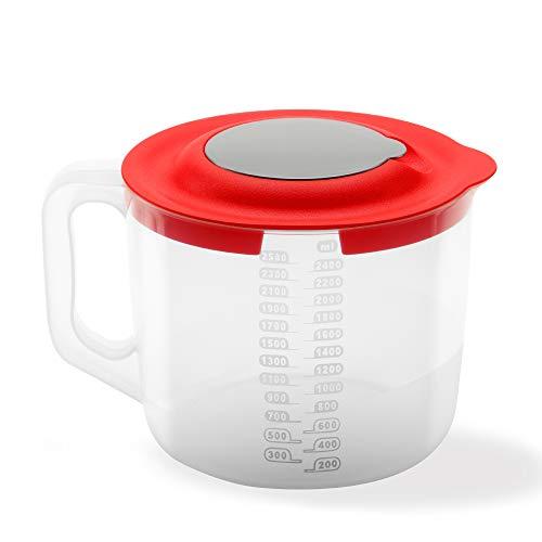 USE, Chef- Vaso medidor batidora de Mano- 3 EN 1 - Apto microondas- Recipiente Mezclador de plástico reposteria (2,5 litros)