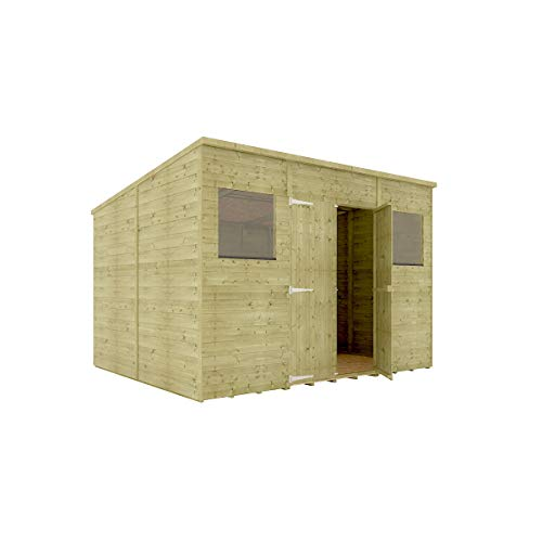 10 x 8 Pressure Treated Hobbyist Pent Shed Tongue & Groove Shiplap Cladding Construction Central Door OSB Floor Wooden Garden Shed 3.04m x 2.43m