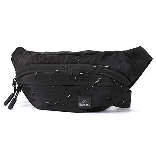 Black Large Fanny Pack for Men Women Plus Size Waist Waterproof, Gym Outdoor Fashion Belt Waist Bag Pack Pouch for Men with Zipper Adjustable Strap,Nylon