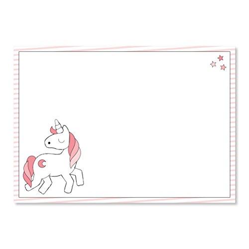 1 Schreibtisch-Unterlage mit Einhorn-Motiv I dv_016 I DIN A3 I 40 Blatt I Malblock Papier rosa Geschenk für Mädchen Kinder Schulanfang