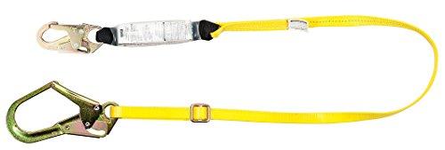 MSa Safety 10072472Workman single-leg energy-absorbing per legare csa-certified cordino con moschettone 36C, piedi, With 1-Leg, 36C Snap Hook & 36CL Rebar Snap Hook, Yellow, 1