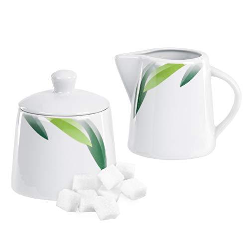 Van Well | 2-dlg. Siena: suikerdispenser met deksel + melkkannetje | doos + gieter | bladdecoratie groen | edel porselein | gastronomie