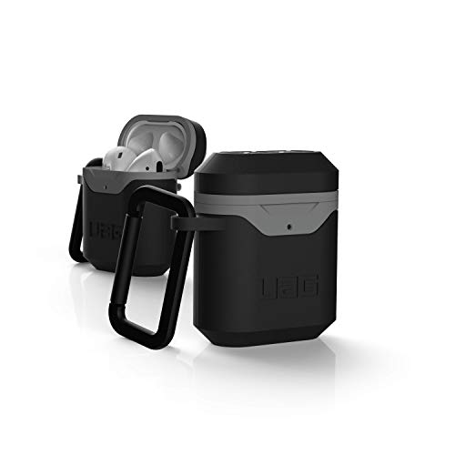 Urban Armor Gear Hard Case for Apple Airpods 2nd & 1st Generation (2019 & 2016) - Robust Case (Wireless Charging Compatible, Drop Resistant to Military Standard, Snap Hook) - Black/Grey