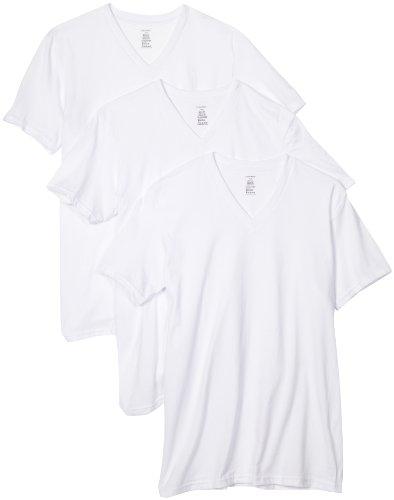 Calvin Klein Men's 3-Pack Classic V-Neck T-Shirt, White, Medium