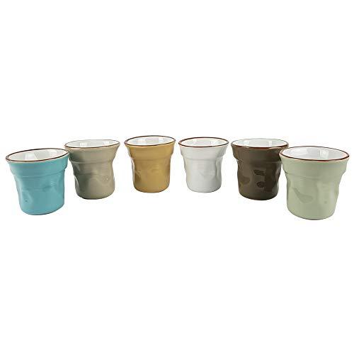 BUYSTAR Set 6 tazzine Effetto Stropicciato | Tazzine in Ceramica Laccata Multicolor | Tazze Bicchierini caffè Espresso