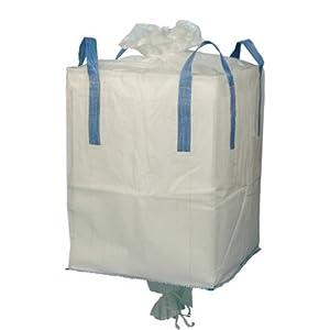 Saco de Obras Big Bag para Escombros y Runa | Bolsa Grande para Tierra con Boca y Válvula de Descarga Camisa Superior Solapas y Asas, Capacidad para 1000K (1 Tonelada) | 90x90x120cm