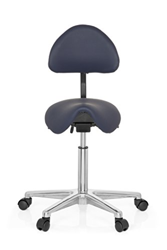 hjh OFFICE Sattel-Hocker Arbeits-Stuhl TOP Work 20 blau Industriestoff-Bezug, robust verarbeitet, Praxisstuhl 77-105 x 63 x 45 cm