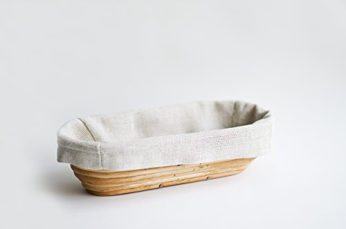 Bread Banneton (Oval 13 x 5.5 x 3 inches) Willow Proofing Basket Handmade Best Bakery Themed Gifts For Women With Linen Liner Covers