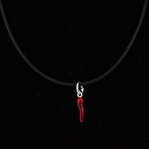 Collana in caucciù con chiusura in argento 925 corno rosso in argento 925 collana uomo collanina donna per lui e lei