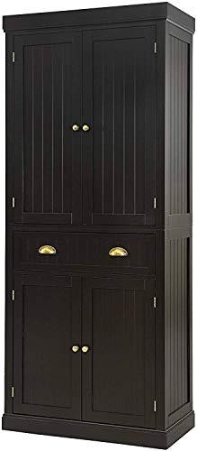 Nightcore Freestanding Kitchen Pantry Cupboard, 6ft Wood Cupboard w  4 Adjustable Shelves, 2 Wood Pantries, & 1 Drawer, Utility Storage Cabinet for Kitchen, Hallway, Living Room, Bathroom (Espresso)