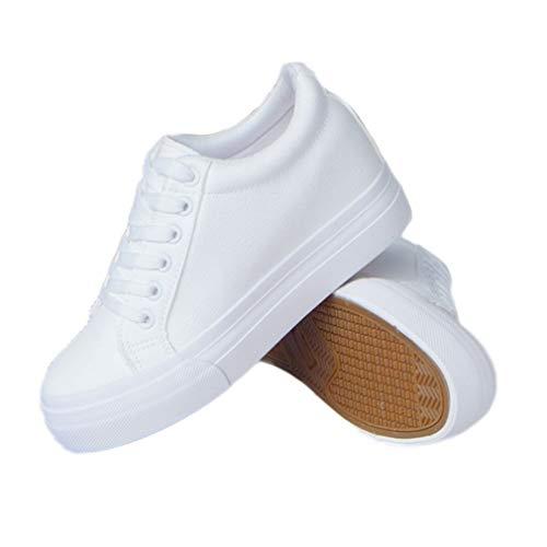 Zapatos de Plataforma para Mujer Cuñas Zapatillas de Deporte Moda con Cordones Tacón Oculto Plano 6 cm Zapatos vulcanizados Resistentes al Desgaste Zapatos Casuales Blancos Femeninos