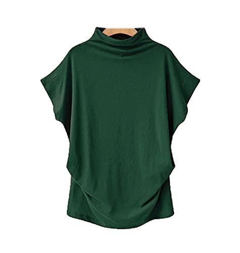 Damen T-Shirt Sommer Lose T-Shirt Tops Rollkragen Kurzarm Casual