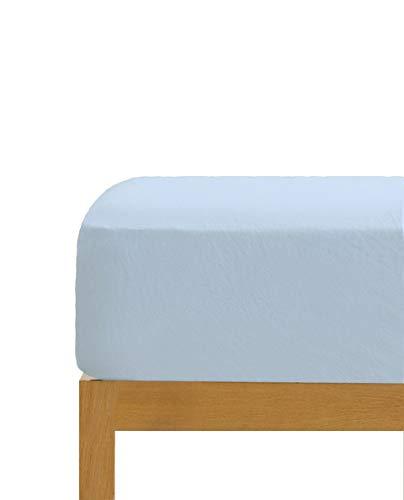 Sábana Bajera Ajustable Celeste 100% algodón Cama de 135 cm (135x190/200 cm)