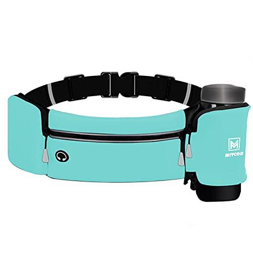 MIYCOO Running Belt for Men Women Fanny Pack with Foldable Water Bottle Holder Waist Bag for Runners Fitness Training (Blue)