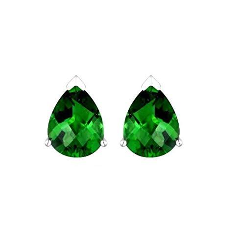 E60709P Pear Shape (6x9mm) Mt St Helens Green Helenite May Birthstone Sterling Silver Studs Earrings (Purple)