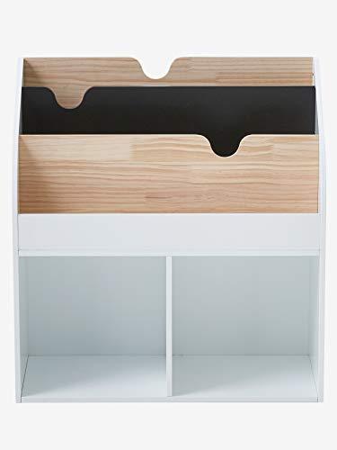 VERTBAUDET Mueble para organización con 2 compartimentos + estantería librería School BLANCO CLARO LISO UNICA