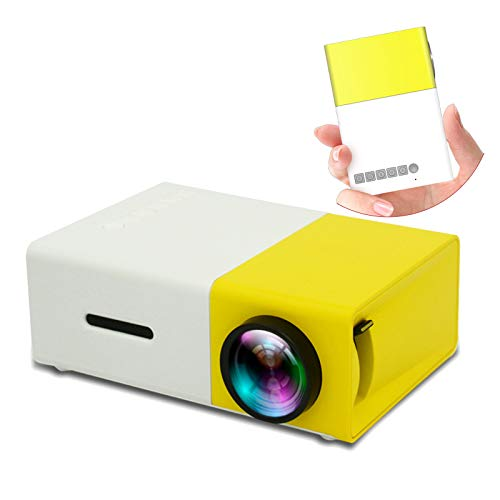 Mini Projector, with Soft Curtain LED Portable Video Projector, with HDMI USB AV Interfaces and Remote Control for Party/Game/Children Present,Yellow