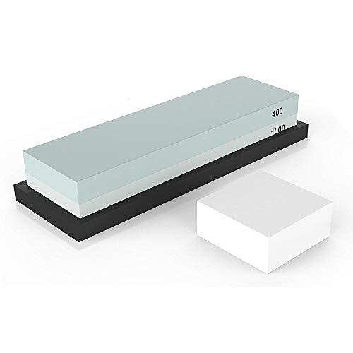 JNML Wetsteen Slijpsteen 2 Zijgrit 400/1000 |Messenslijper Waterstone met antislip rubberen basis en plat