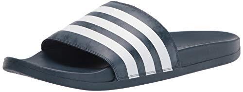 adidas Unisex Adilette Comfort Slide Sandal, Crew Navy/White/Crew Blue, 9 US Men