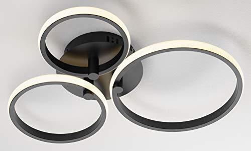Casa Nova Deckenleuchte LED CIRCLES (DH 50x7 cm) DH 50x7 cm schwarz Deckenleuchte Deckenlampe Badezimmerlampe Badezimmerleuchte