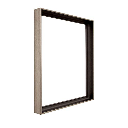 Pixy Canvas 9x12 inch Floater Frame for 1', 1.25' and max 1-3/8' Deep Canvas Paintings, Wood Panels & Stretched Canvas Boards (Antique Silver, 9 x 12 inch)