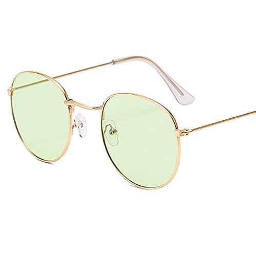 UKKD Gafas de Sol Classic Pequeño Marco Redondo Gafas De Sol Mujeres/Hombres Alloy Mirror Gafas De Sol Vintage Eyeglass-Blue