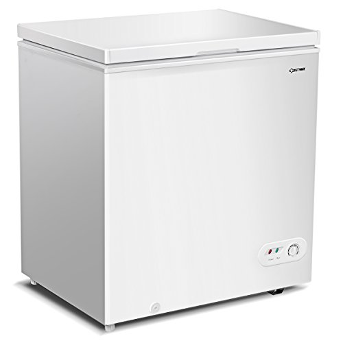 COSTWAY Single Door Chest Freezer 5.2 Cubic Feet Capacity Compact Freezer with Power on Indicator Light and Removable Basket (White)