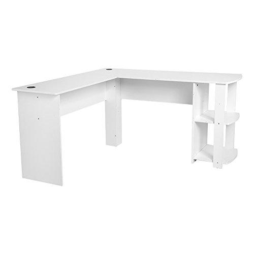 Zerone Eckschreibtisch, L-Form Computertisch Winkelschreibtisch Bürotisch mit Regal aus Spanplatte (Weiß)