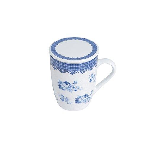 Conjunto Caneca com Tampa e Filtro de Porcelana Grécia 310Ml com Caixa de Presente Lyor Azul/ Branco