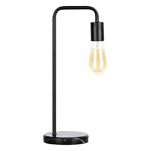 Lámpara de Mesilla Industrial Lámpara de Escritorio Marco de Metal Negro con Base de Mármol (sin Bombilla)