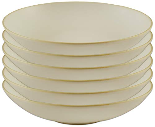 Amazon Brand – Stone & Beam Corwin Rustic Reactive-Glaze Stoneware 6-Piece Dinner Bowl Set, White Sand Matte