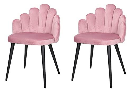 Herbalady 2 sillas de comedor de estilo europeo, terciopelo suave cubierto nórdico silla de comedor, sillón (con pies de metal ajustables), adecuado para sala de estar y dormitorio (Rosa-04)