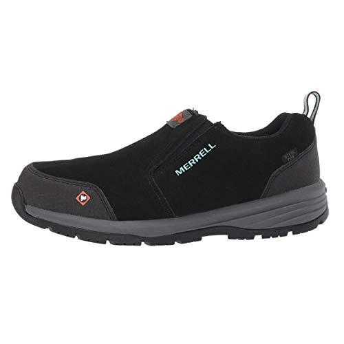 Merrell Women's Windoc Moc Waterproof Steel Toe Work Shoes Construction, Black, 6