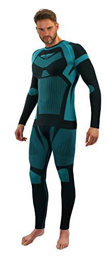 Sesto Senso Uomo Biancheria Intima Funzionale Set Maglia a Maniche Lunghe Pantaloni Livello Base M Verde