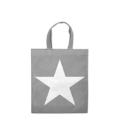 1x Einkaufstasche grau Motiv Star | 28 x 32 cm | Polypropylen | PP-Non-Woven-Tasche | Vliestasche | Stofftasche | Tragetaschen | Tüten | Verpackung