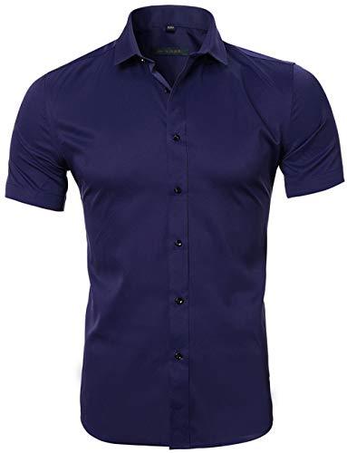 HARRMS Herren Hemd Kurzarm Slim Fit Bambusfaser für Anzug/Business/Hochzeit/Freizeit,Hemden Shirts für Männer,Marine Blau,L-42 EU
