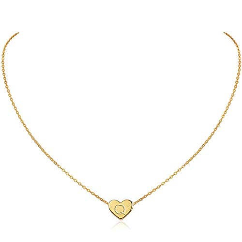 MOMOL Initial Heart Necklace, 18K Gold Plated Stainless Steel Small Dainty Heart Pendant Necklace Personalized Name Necklace Tiny Letters Charm Necklace for Girls (Gold Q1)