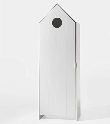 Vipack CASAMI Schrank mit 1 Tür weiß, Rillenprofil senkrecht, Ausführung MDF lackiert Korpus Weiß/Front Weiß/Rillenprofil senkrecht