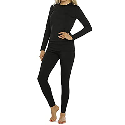Womens Thermal Underwear Set Long Johns with Fleece Lined Ultra Soft Top & Bottom Base Layer Thermals for Women Black