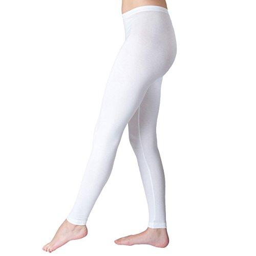 HERMKO 7720 Damen Legging Women Leggins Lady Leggings Hose lang aus der Soft Faser Modal von Lenzing, Farbe:weiß, Größe:36/38 (S)