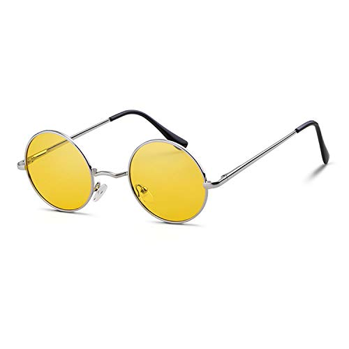 John Lennon Round Polarized Hippie Sunglasses Small Vintage Circle Sun Glasses(Silver Frame/Yellow Lens)