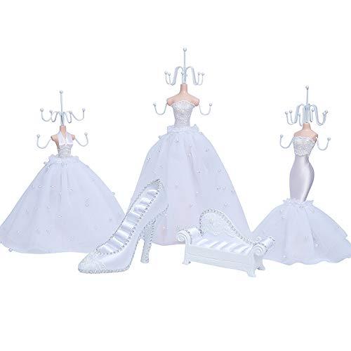 ZQJKL Juego De 5 Vestido De Princesa Soporte De Exhibición De Joyería Titular del Pendiente del Collar Señora Maniquí Tacón Alto Soporte De Exhibición De Joyería Percha De Joyería