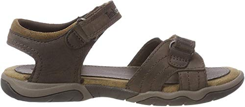 Timberland Unisex-Kinder Oak Bluffs Leather 2Strap Sandalen, dunkel Braun, 35 EU