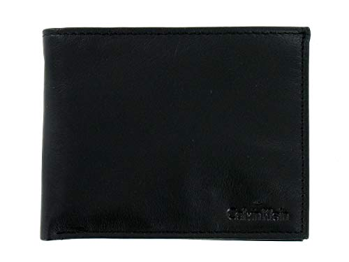 Calvin Klein Mens Black Pebble Genuine Leather | ID Holder | Bi-Fold Wallet