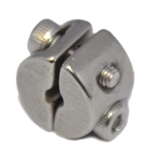 Anillo de sujeción para cable de alambre de 4 mm, 2 unidades, con 2 tornillos, abrazadera de cable de acero inoxidable A4 NIRO, AISI 316 Nirosta