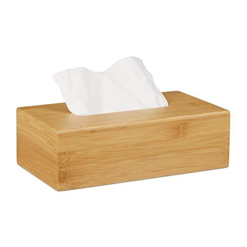 Relaxdays Kosmetiktücherbox Bambus, HBT: 8,5 x 27,5 x 15,5 cm, Tuchspender für Taschentücher u. Kosmetiktücher, Natur