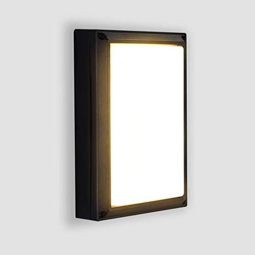 Lightess 18W LED Wandleuchte Außen Außenlampe Außenbeleuchtung Wand Wandlampe Warmweiss aus Alu IP65 Wasserdicht Außenleuchte Schwarz Aussenwandleuchte für Hauseingang Wänden Wegen Terrassen Fassaden