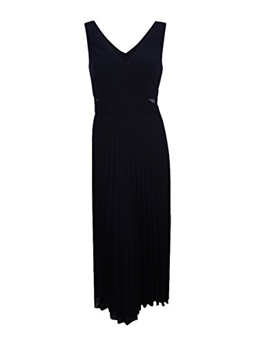 Xscape Women's Plus Size Long Pleated Chiffon Gown with Illusion Insets, Black, 18W