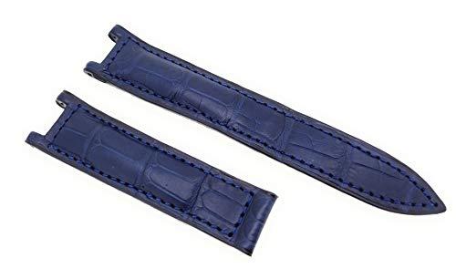 Correa de reloj para Pasha de Cartier, azul, cierre plegable, piel de cocodrilo, 20 mm, fabricado en Alemania